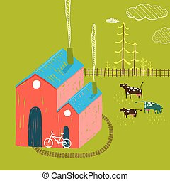 Little Village House Rural Landscape with Forest and Cows on Green