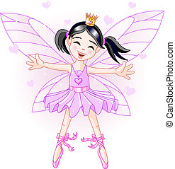 Little violet fairy - Cute violet fairy ballerina flying