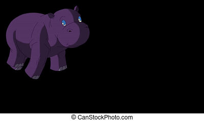 Little Violet Hippo Runs Front View. Animated Motion Graphic...