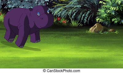 Little Violet Hippo Runs Front View. Handmade animation,...