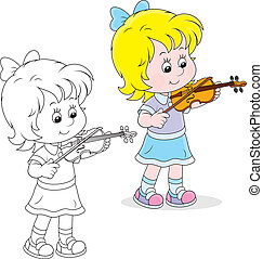 Little violinist - Girl playing her small violin, color and...