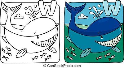 Little whale coloring book. Alphabet W