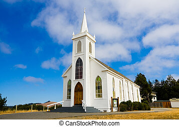Little white church in Bodega Town, California