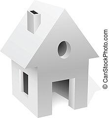 Little white house concept vector illustration.