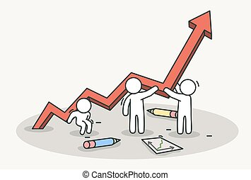 Little white people raise a red chart arrow. Teamwork and success concept. Hand drawn cartoon or sketch design.