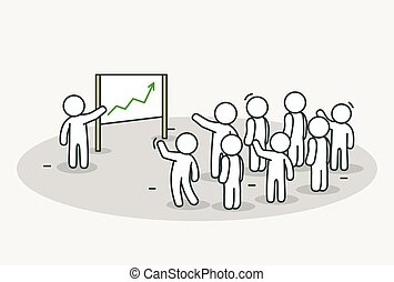 Little white people with leader making a presentation. Conference or presentation concept. Hand drawn cartoon or sketch design.