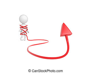 Little white person tangled with arrow over white background