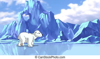 Little White Polar Teddy Bear in Arctic. Handmade animation,...