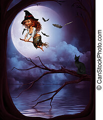 a little witch flying in the moonlight