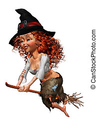 little witch - a cute little with - isolated on with