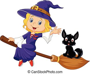 Little witch and a black cat