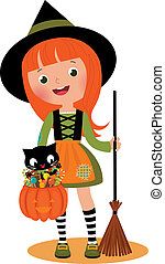 Little witch and her cat on Hallowe