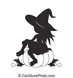Little witch and pumpkin vector silhouette.