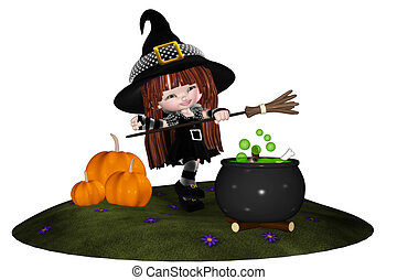 Little Witch - a little witch dancing around the cauldron -...