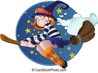 Little witch flying on the broom