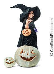 little witch holding a pumpkin