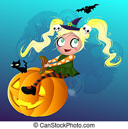 Little witch on pumpkin