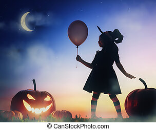 little witch outdoors - Happy Halloween! Cute little witch...