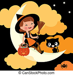 Little witch riding on the moon on