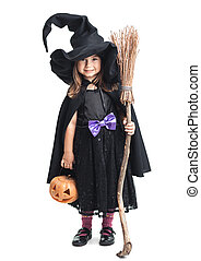 little witch with a broom and pumpkin