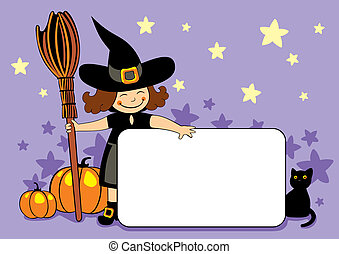 little witch with broom, cat and pu