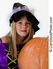 little witch with pumpkin