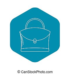 Little woman bag icon, outline style