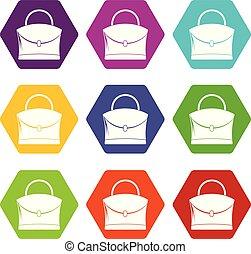 Little woman bag icon set color hexahedron