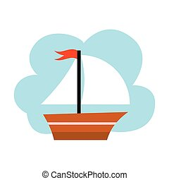 Little yacht on the blue background, vector illustration