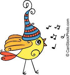 Little yellow bird singing