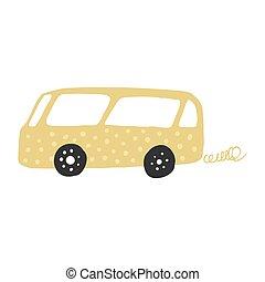 Little yellow bus in doodle style. Cute children's bus. Automobile transportation.