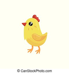Little yellow chicken with red beak and scallop. Cartoon character of farm bird. Domestic animal. Concept of poultry farming. Colorful flat vector design