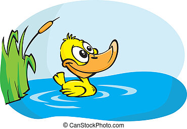 Little yellow duck - A Cute little yellow duckling paddles...