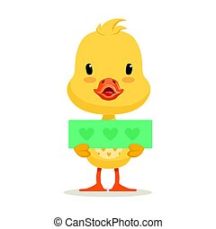 Little yellow duck chick holding blue banner with hearts, cute emoji vector Illustration