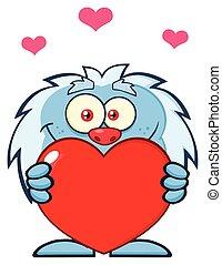 Little Yeti Cartoon Mascot Character Holding A Valentine Love Heart