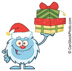 Little Yeti Holding Up A Gifts