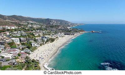 littoral, californie, plage, vue aérienne, laguna