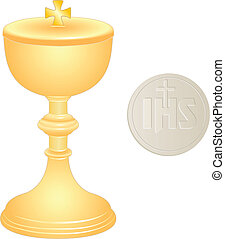 liturgical golden chalice and wafer