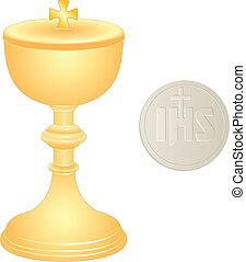 liturgical, złoty, wafel, kielich