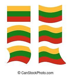 litwa, flag., komplet, od, bandery, od, republika litwy, w, różny, forms., rozwijanie, bandera, od, litewski, europejczyk, stan