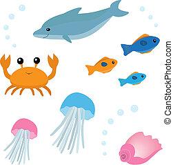 liv, 2, sæt, cartoon, hav