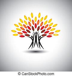 liv, begrepp, lycklig, glad, eco, folk, -, träd, vector.