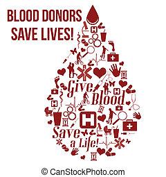 liv, begrepp, skänka, affisch, blod, räddning