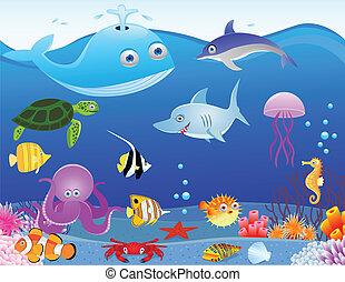 liv, hav, cartoon, baggrund