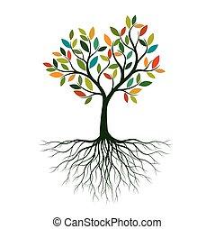 liv, illustration., farve, træ, vektor, roots.