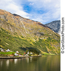 liv, in, norway:, fjord, mountains, och, by