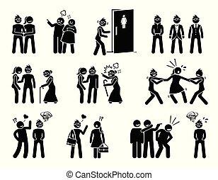 liv, kvinde, struggle., besværlighed, sociale, lesbisk