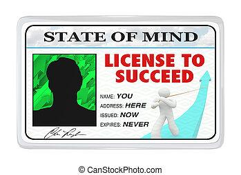 liv, licens, tillåtelse, framgångsrik, -, lyckas