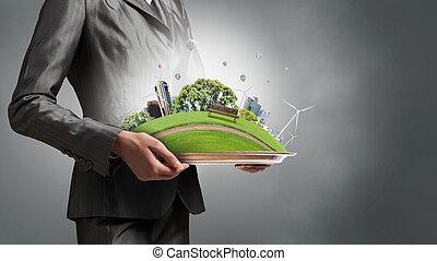liv, medier, moderne, spørgsmål, miljø, blandet