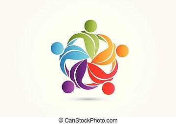 liv, natur, folk, teamwork, det leafs, logo